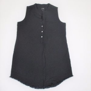 Nic + Zoe M P Navy Blue Linen Tunic Dress Raw Hem